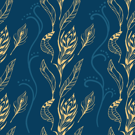 The sketch of feathers  pattern. Hand drawn vector  for design set. Illustration