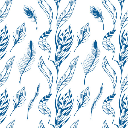 The sketch of feathers  pattern. Hand drawn vector  for design set. Stock Photo