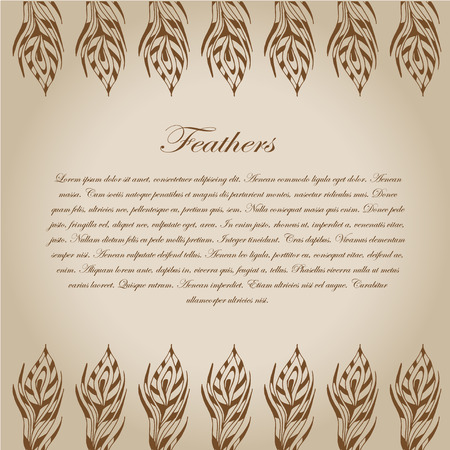 The sketch of feathers. Hand drawn vector  for design
