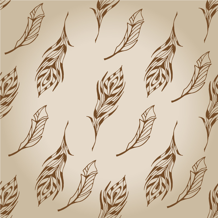 The sketch of feathers  pattern. Hand drawn vector  for Illustration