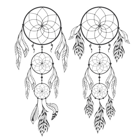 Hand drawn dream catcher with feathers on izolated background. Sketch vector illustration for design