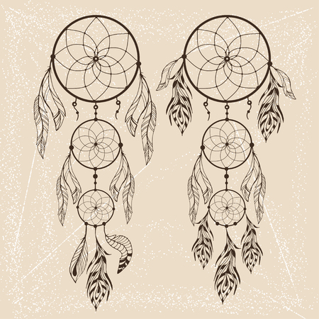 Hand drawn dream catcher with feathers on vintage background. Sketch vector illustration for design