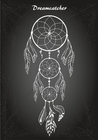 Hand drawn dream catcher with feathers on chalk board background. Sketch vector illustration for design Illustration