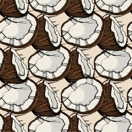 Coconut sketch  vector pattern, had drawn Illustration