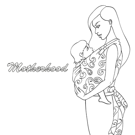 Sketch of Mother and baby wearing for coloring book Illustration