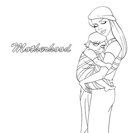 Bosquejo de la madre y del bebé que usa para colorear