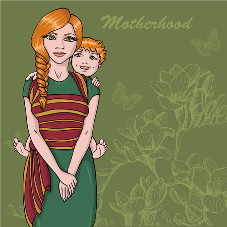 Sketch of Mother and baby wearing for design and card Illustration
