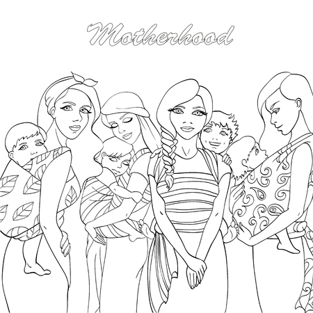 Sketch of Mothers and babies wearing for coloring book