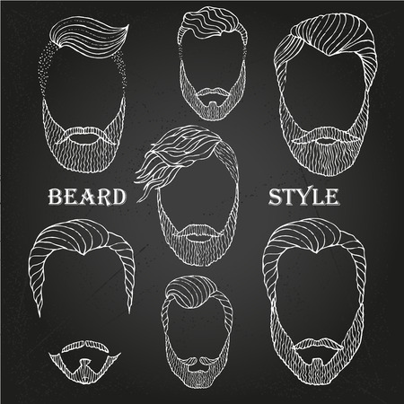 Hand Drawn Beard sketch set on chalk-board