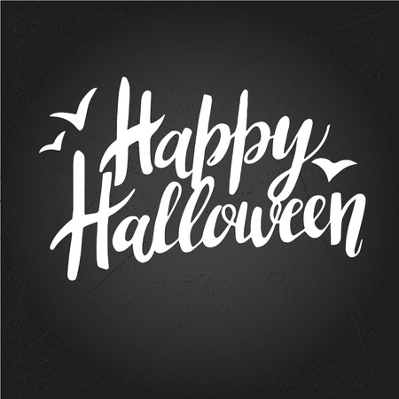 Happy Halloween greeting card Calligraphy. Handmade  lettering on Chalk-board Illustration