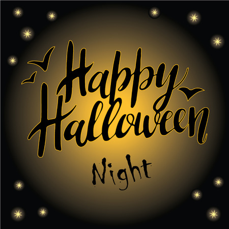 Happy Halloween greeting card Calligraphy. Handmade  lettering on moonlight