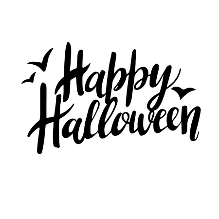 Happy Halloween greeting card Calligraphy. Handmade  lettering. Illustration