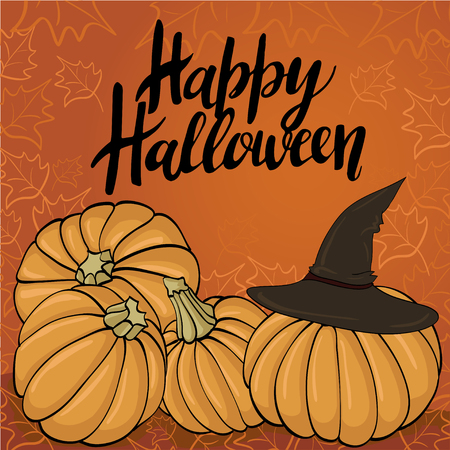 Happy Halloween greeting card Calligraphy. Handmade  lettering with pumpkin