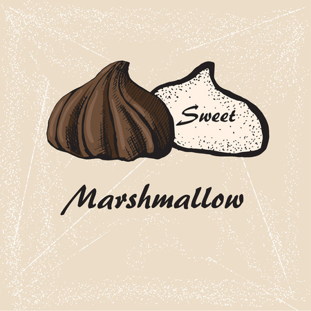 sketch of chololate marshmallows on retro background