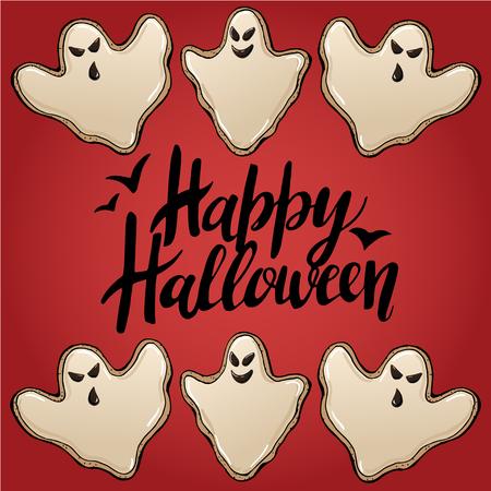 Sketch of  Cute funny Halloween Cookies in vector Illustration