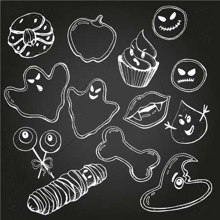 Sketch of  Cute funny Halloween Cookies in vector on chalk-background
