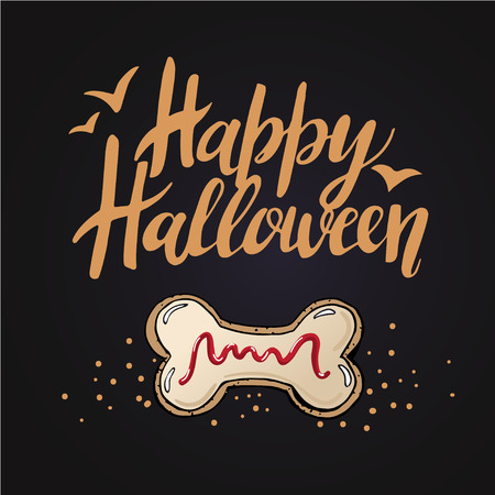 Sketch of  Cute funny Halloween Cookies in vector Illustration