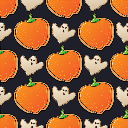 pattern of  Cute funny Halloween Cookies in vector