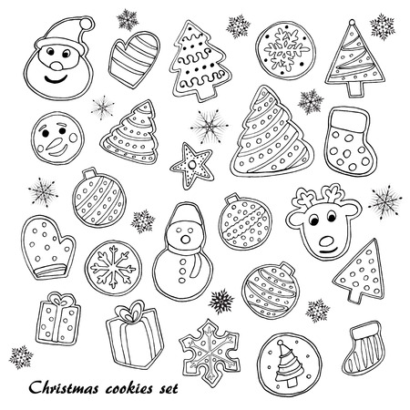 Big set of Christmas cookies sketch