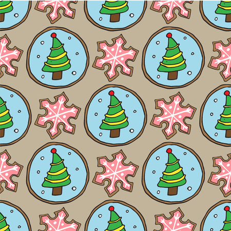 christmas cookies sketch pattern on color background