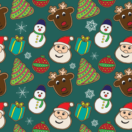 kiss biscuits: christmas cookies sketch pattern on color background