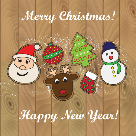 Christmas card with cookies sketch on wood background Illustration