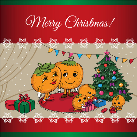 Cartoon  illustration of a mandarin family at the Christmas tree with gifts Family at Christmas tree with gifts