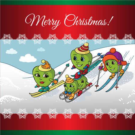Christmas card with  Apple Family Skiing, Vector illustration cartoon.