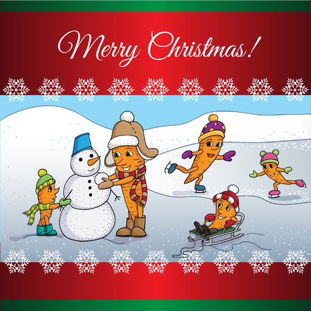 Christmas card with  Carrrot Family sculpts snowman. Illustration cartoon. Illustration