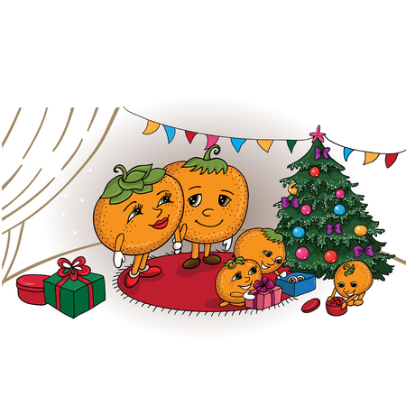 Cartoon  illustration of a mandarin family at the Christmas tree with gifts Family at Christmas tree with gifts on isolated background