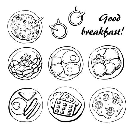 건강한 아침 식사 스케치