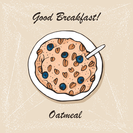Oatmeal breakfast sketch. Vector design. Illustration
