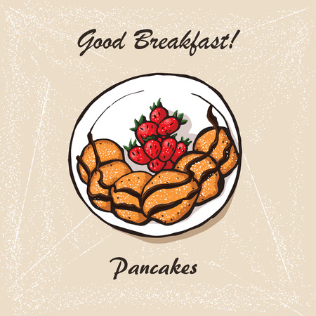 Hand drawn pancakes with strawberries and syrup. Decorative icon pancakes in an old style ink. Vector illustration of Pancakes on a plate. Illustration