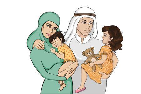Colorful arabian happy family sketch