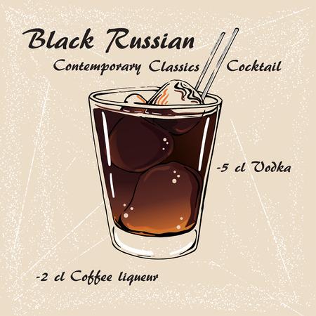 BLACK RUSSIAN cocktail illustration. Alcoholic cocktails vector illustration