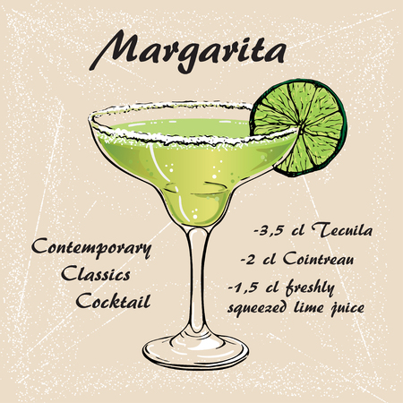 Hand drawn illustration of cocktail Margarita  イラスト・ベクター素材