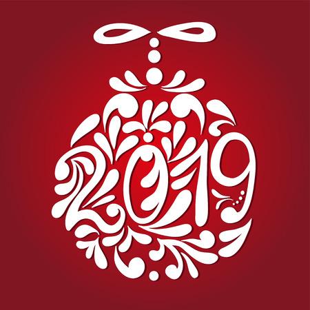 Christmas and New Year greeting card. Vector illustration. Vektoros illusztráció