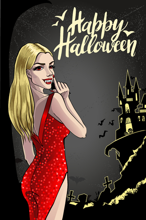 Sexy Vampire Lady. Halloween Vector Illustration with layers.