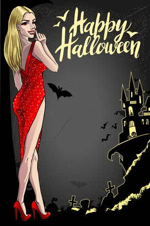 Sexy Vampire Lady. Halloween Vector Illustration with layers. 矢量图像