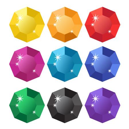 Colorful cartoon diamonds icons realistic vector set 1 Reklamní fotografie - 117227162