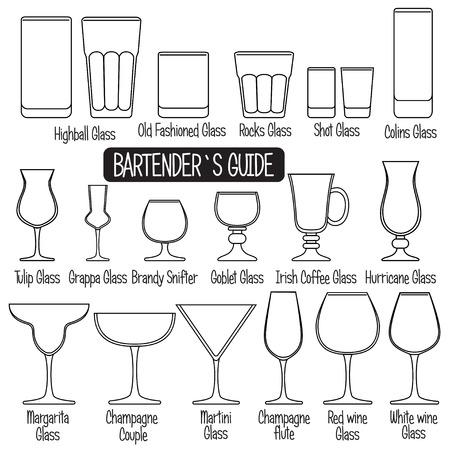 Trinkgläser mit Titeln, Schwarz-Weiß-Symbolen gesetzt.