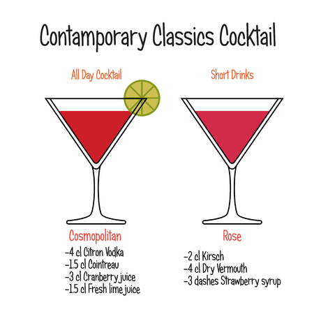 Cosmopolitan cocktail and rose cocktail vector recipe