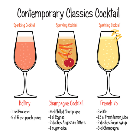 Set of hand drawn alcoholic drinks, Belliny cocktail, french and champagne cocktail recipe. Bartender guide concept. Isolated vector icons.