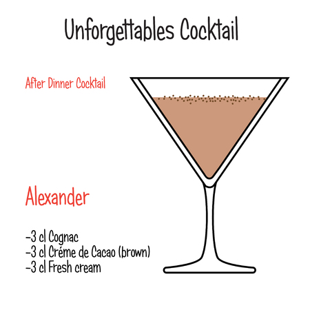 Alexander alcoholic cocktail vector illustration recipe isolated Imagens - 122526007