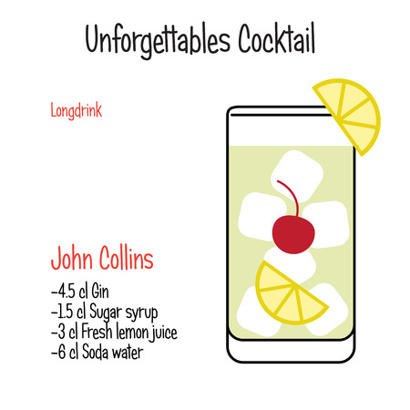 John Collins alcoholic cocktail vector illustration recipe isolated Vettoriali