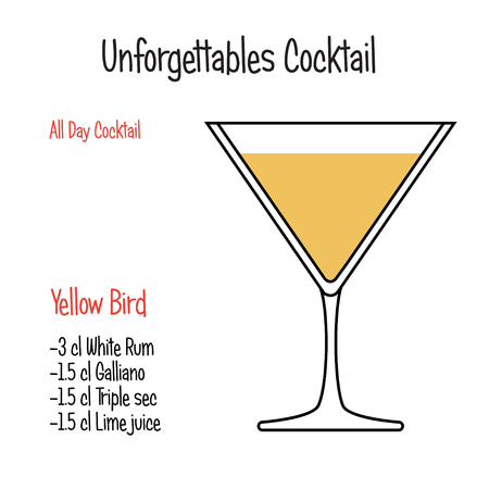 Hand drawn alcoholic drinks,Kamikaze alcoholic cocktail vector illustration recipe. Bartender guide concept. Isolated vector icons.