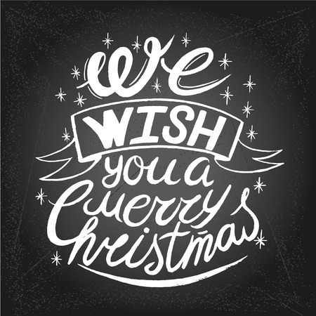 Wishing You A Merry Christmas And Happy New Year Typographical Background On Chalkboard. Handmade lettering print. Vector vintage illustration. Illustration