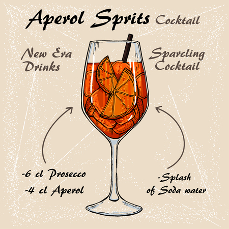 Aperol Sprits Cocktail vector Sketch illustration recipes 3