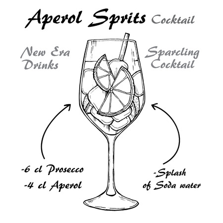 Aperol Sprits Cocktail vector illustration recipes. Bartender guide. Hand drawn illustration