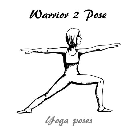 Warrior 2 pose of yoga pose illustration Ilustração
